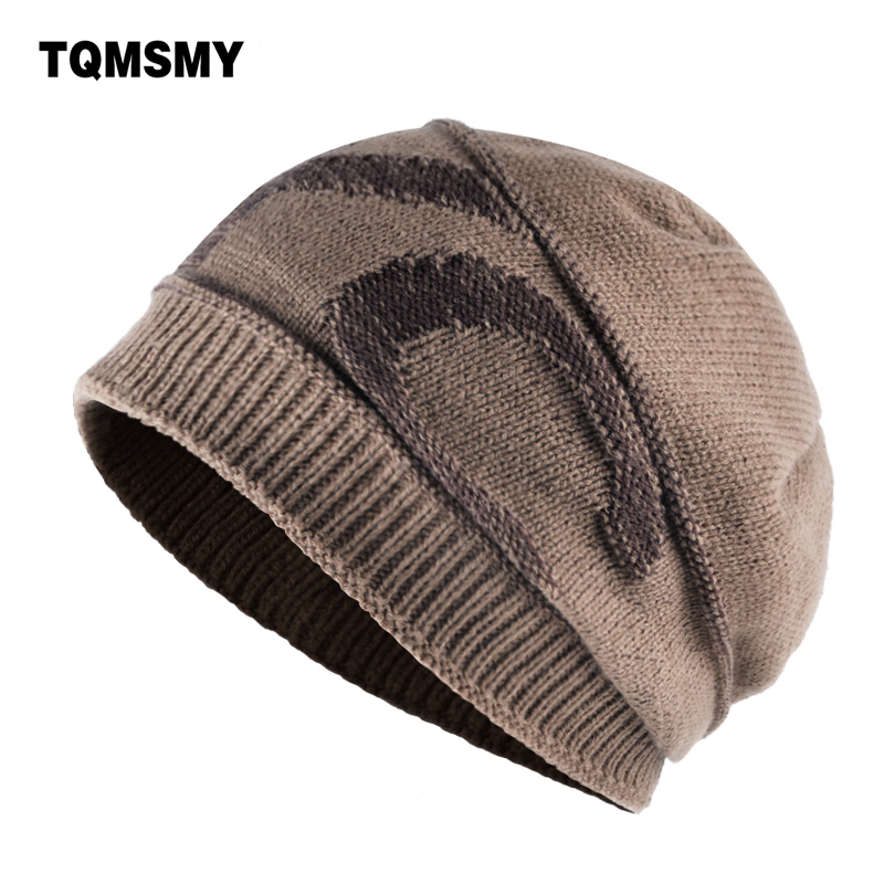 TQMSMY Winter hats men's   Skullies   Knitted wool letter nyc bone double layer keep warm caps men   beanies   casual Ski cap gorros