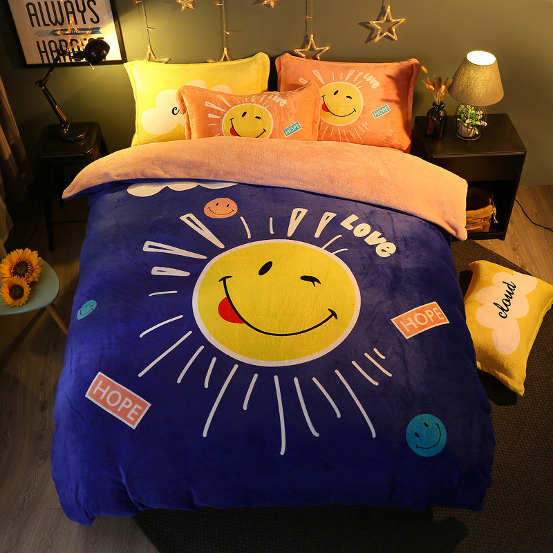 Winter 4 Pieces Cartoon uil Luxe Beddengoed Set Kingsize Queen Bed Set Fleece stof Dekbedovertrek Laken Kussensloop - 5