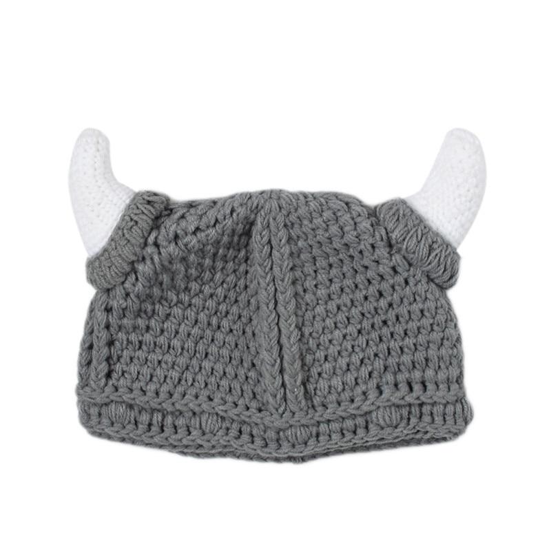 1Pcs Cute Spring/Autumn Baby Viking Hats Skullies Baby Boy Girls Beanies Ears Hat Knitted Crochet Baby Caps 3-24M