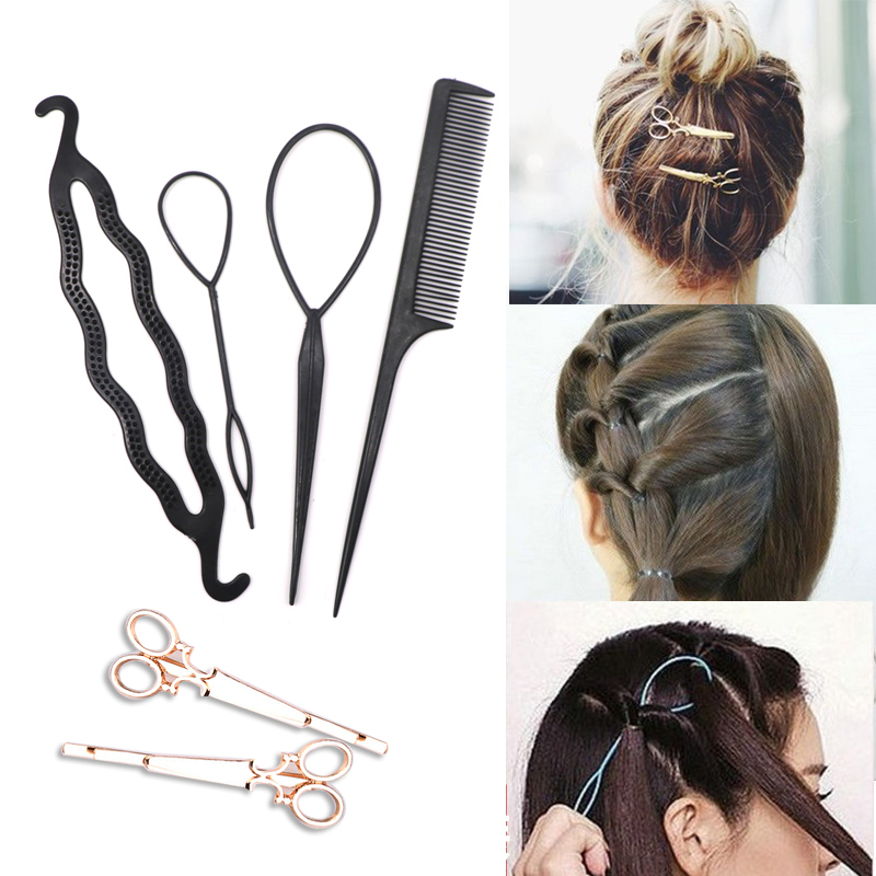 6pcs Fashion Scissors Shape Hairpins Shiny Metal Hair Clips For Women Girls Styling Clip Stick Fast Easy Magic Bun Maker Braider