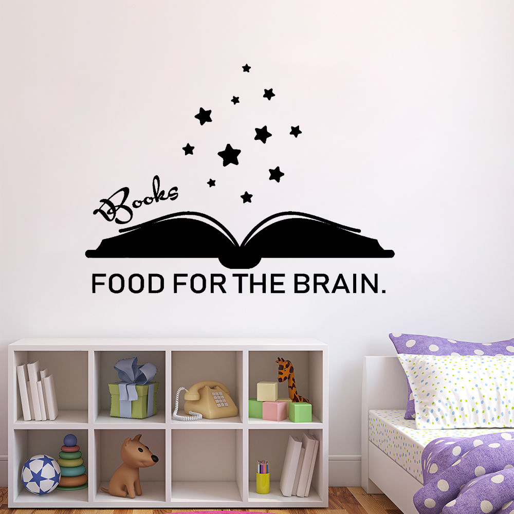 Books Food For The Brain Wall Decal Quote Words Reading Book Vinyl Wall Stickers Kids Gift Bedroom Decoration Poster A016 image