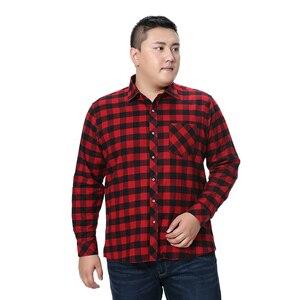 Image 3 - Fett Kerl Plus Größe 5XL 6XL 7XL 8XL 100% Volle Baumwolle Plaid Business Casual Shirt Männer Langarm Flanell Hohe qualität Mode