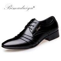 BIMUDUIYU 최고 품질 남성 옥스포드 드레스 신발 패션 레이스 업 웨딩 블랙 신발 남성 뾰족한 발가락 공식적인 사무실 신발 큰 크기