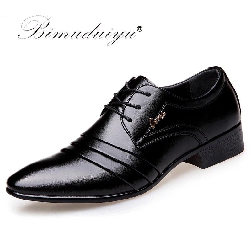 Bimuduiyu Одежда высшего качества Для мужчин оксфорды Туфли под платье модные босоножки свадебные черная обувь Для мужчин S острый носок вечерн...