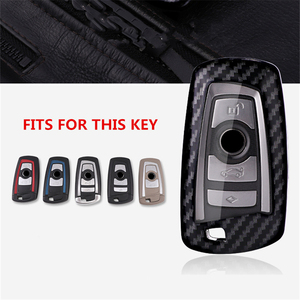 Image 2 - Auto Styling Koolstofvezel + Pc Key Cover Shell Case Voor Bmw New1 3 4 5 6 7Serie f10 F20 F30 Smart 3/4 Knoppen Accessoires Sleutelhanger