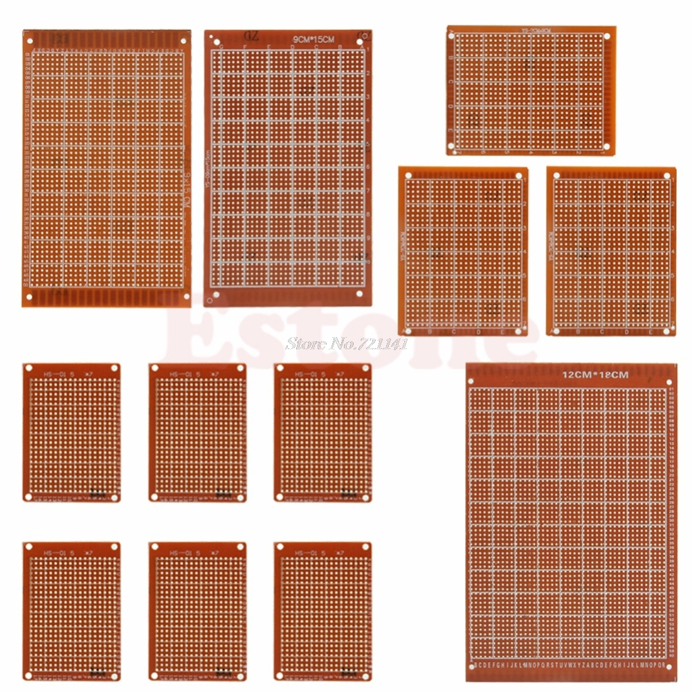 Universal 12pcs Lot Electric Printed Circuit Prototype Pcb Board Artwork Stripboard And Breadboard Layout 12 Pcs Kit Prototyping Panel Strip