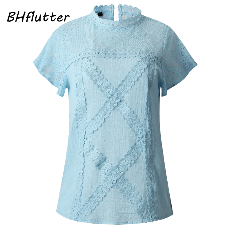 aa3d6d871d2 ... Lace Shirts Women 2019 Fashion O neck Short Sleeve Casual Summer Blouses  and Tops Sexy Hollow out Tops Blusas. -38%. 🔍. 1; 2