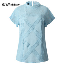 BHflutter Cotton Lace Shirts Women 2019 Fashion O neck Short Sleeve Casual Summer Blouses and Tops Sexy Hollow out Tops Blusas(China)