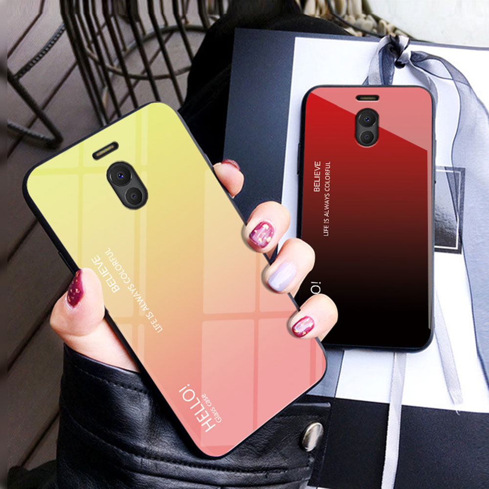 IDOOLS Phone Case for Meizu Meilan M6 note Gradient Tempered Glass Cover Shell Soft TPU Cases for Meizu Note 6 Note6 Coque