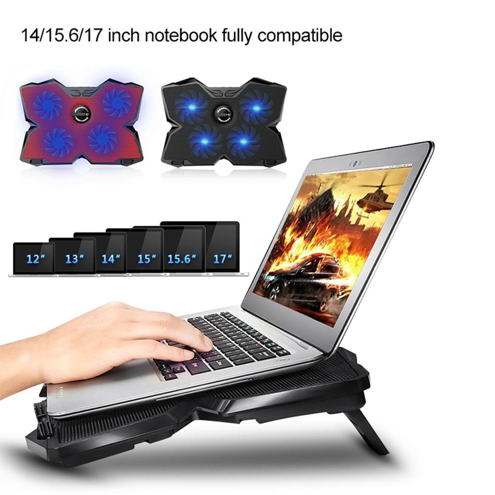12 17inch Gaming Laptop Cooler 4 Fans Led Screen Two Usb Port 2600rpm Laptop Cooling Pad Notebook Stand For Laptop Alielaptop