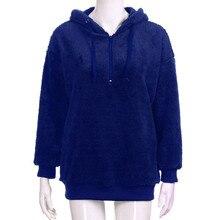 Ladies Hooded Pullover Jumper Solid Casual Coat Sweatshirt Womens Warm Fluffy Winter Top Hoodie