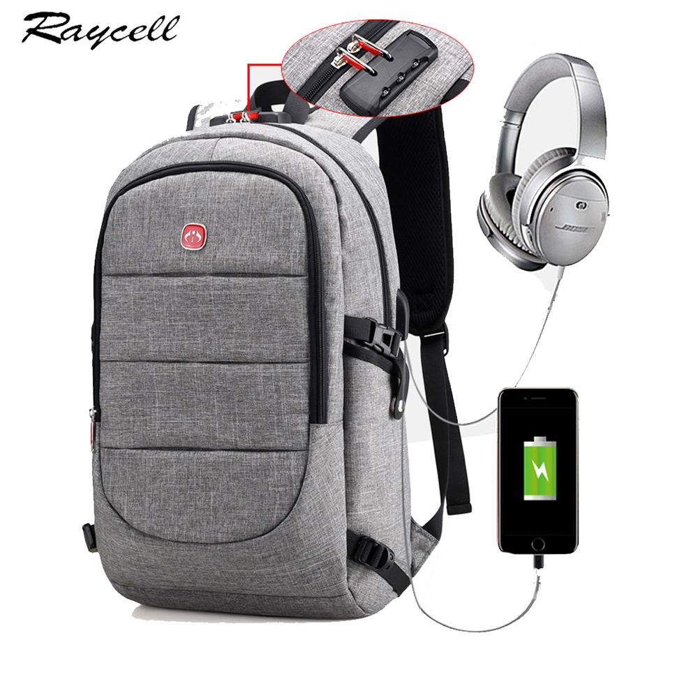15.6 Inch Laptop Anti-theft Men Backpack With USB Charging Headphone Interface Port Lock Business Waterproof For Work Women
