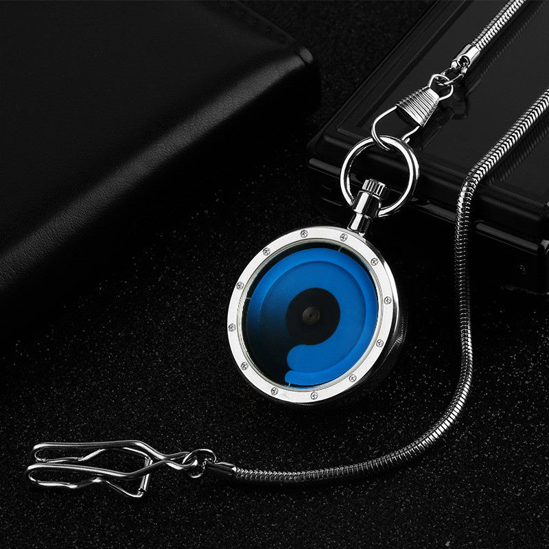 Novel Blue/Purple Swirl Design Open Face Quartz Pocket Watch Fashion Cool Men Women Vintage Clock Gift with Pendant Chain new arrival black face semi circular pocket watch serpentine with waist chain cool fashion gift for women men quartz fob watches