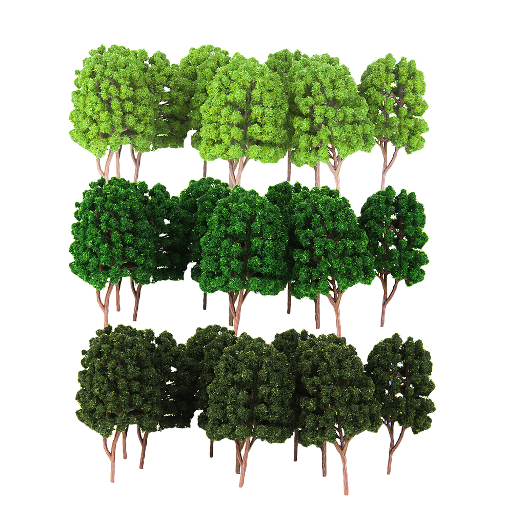 30Pcs Plastic Green Model Tree 1/100 HO Scale Layout for Train Railway Landscape Building