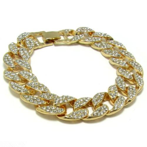 Gold Fully Iced Out Hip Hop...