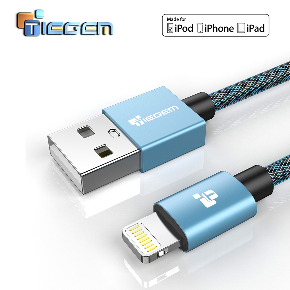 TIEGEM USB-laddarkabel för iPhone 6 7 8 MFi-blixtkabel 2,5A iOS 11 Snabbladdare Datakabel för iPhone 5S 5 iPad Air Mini