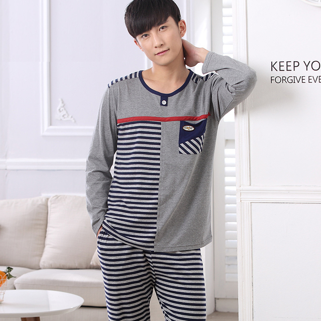 Pajamas For Men Cotton Leepwear Striped Long-sleeved Sleep Autumn Men's Lounge Pajama Set