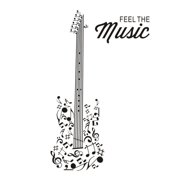 feel the music guitar silhouette wall stickers home decor vinyl