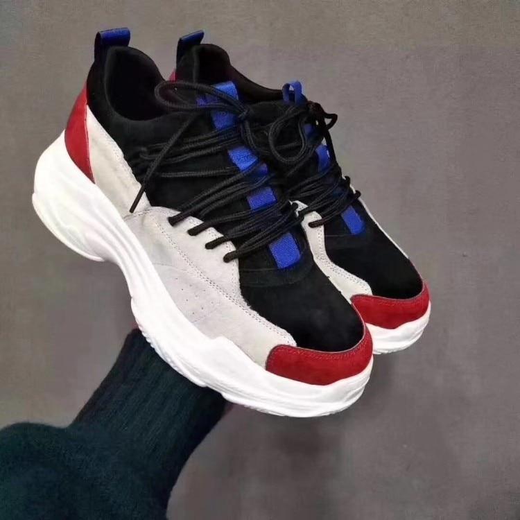 Negro {zorssar} Las Nueva Estudiante 2018 Cuero Mujeres De rojo Plataforma Zapatillas Zapatos Genuino Deporte Casuales Mujer Moda x8xwrZT