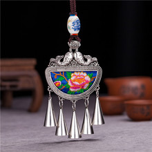 necklaces & pendants With bells Retro Ethnic Miao Fish shape Ceramic beads Classic Embroidery Tassels