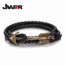 2016 New Arrival Hot Multilayer charm leather Vintage Bronze Arrow bracelet Anchor leather bracelets for men women lovers' gift