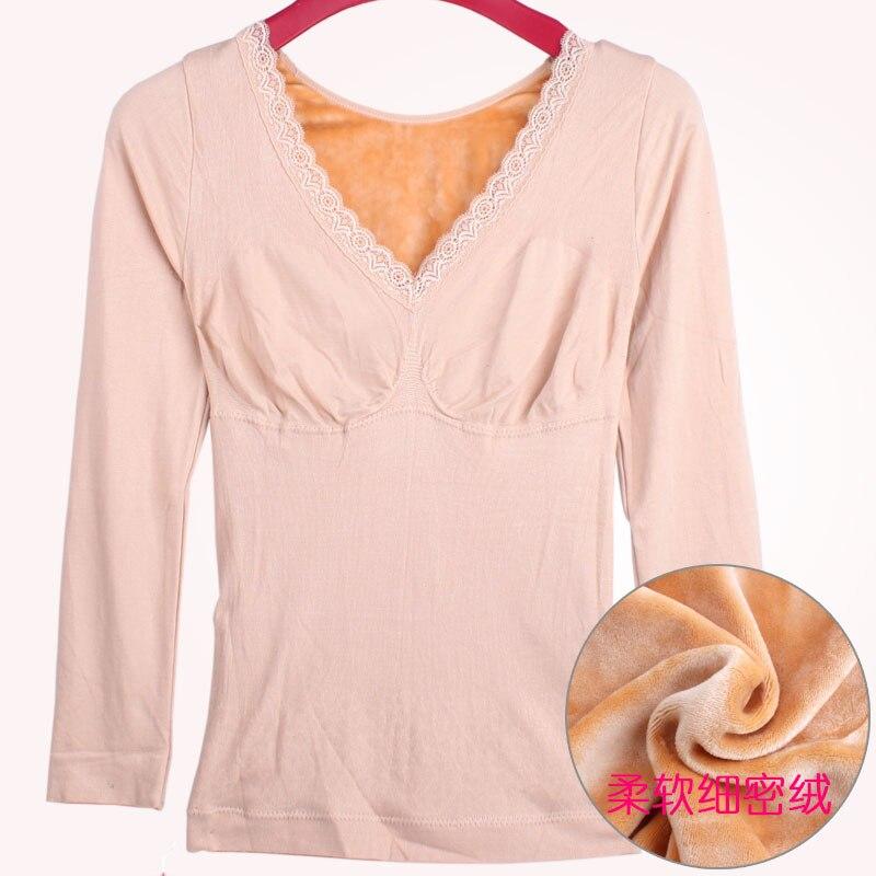 Winter Slimming Shirts Plus Velvet Thick Warm Long Johns Female Blue Lace Collar V Body Sleeved Bottoming Thermal Lingerie Women