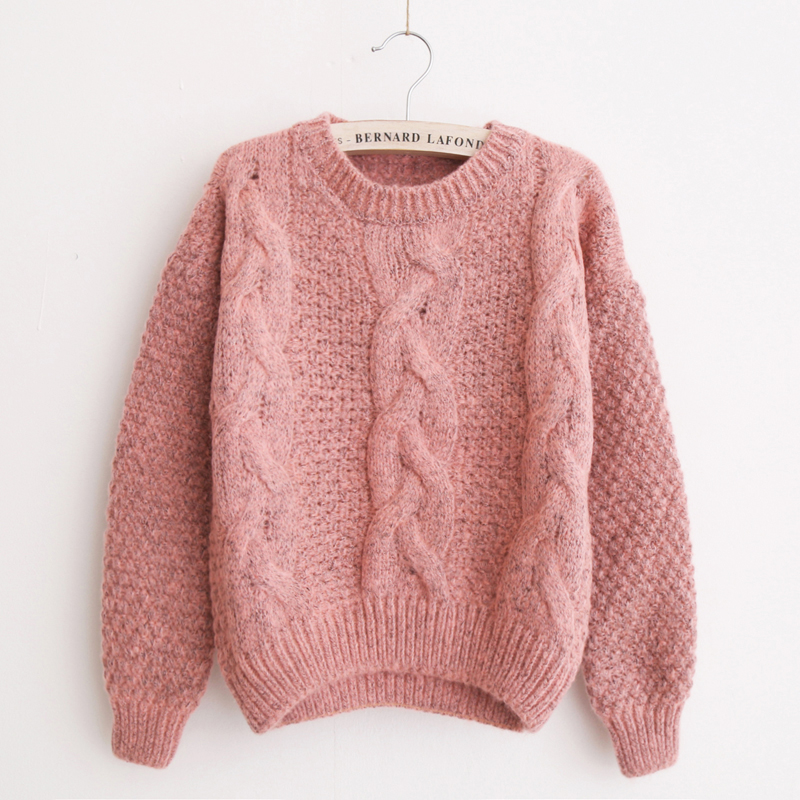 Freeshipping  NEW Fashion Short Pullover Women Sweater Vintage Twist Long sleeve O-Neck Short Knitted Sweaters 0506