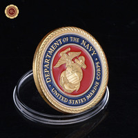 Fancy American Marine Corps Colorful Gold Plated Coin Challenge Coin Medal 40*3 Souvenr Commemorative Coin