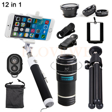 Best price HD 12X Zoom Telephoto Lens Telescope Fish eye Wide Angle Macro Lentes Microscope With Selfie Stick For Samsung Galaxy note 3 4 7