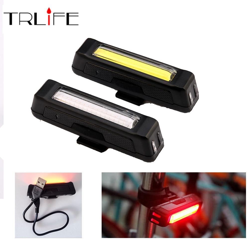 COB impermeable cometa USB recargable bicicleta cabeza luz alto brillo rojo LED 100 lúmenes delantero/trasero luz de seguridad paquete