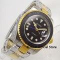 Сапфировое стекло 40 мм Функция GMT автоматические часы Mern браслет из нержавеющей стали Позолоченный Край Матовый керамический ободок