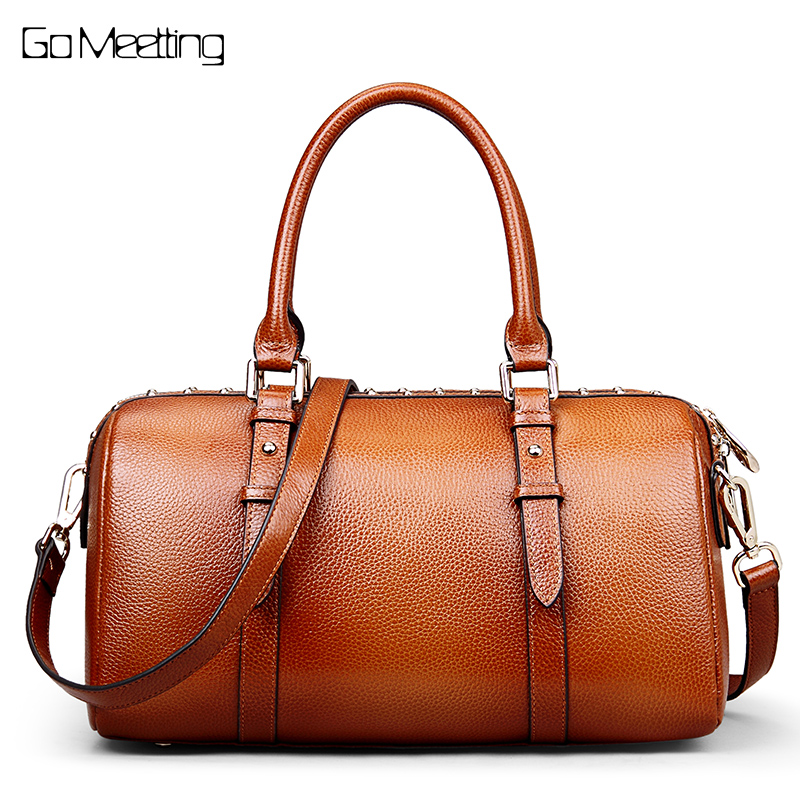 Go Meetting Genuine Leather Vintage Women's Handbags High Quality Cowhide Shoulder Bags Women Rivet Boston Messenger Bag Totes 2016 genuine leather women handbags cowhide totes women shoulder bags high quality fashion cross body messenger bags ws44