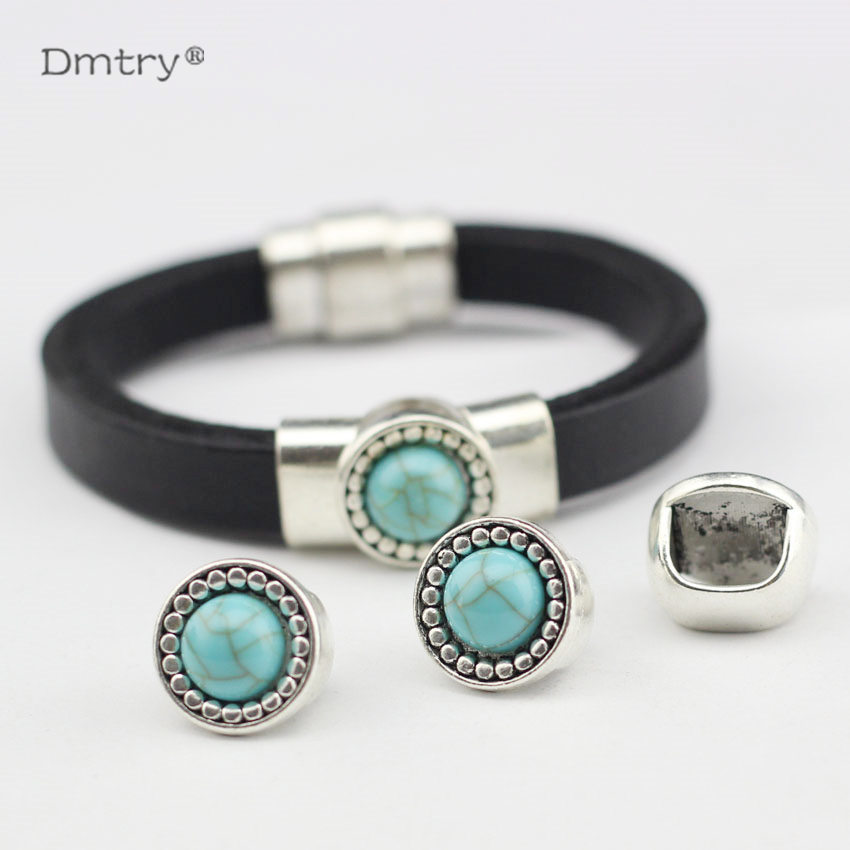 Dmtry 10pcs Fashion Jewelry Making Accessories Material For Making Bracelet Use With 10*5mm Leather Charms Beads Finding BB0010
