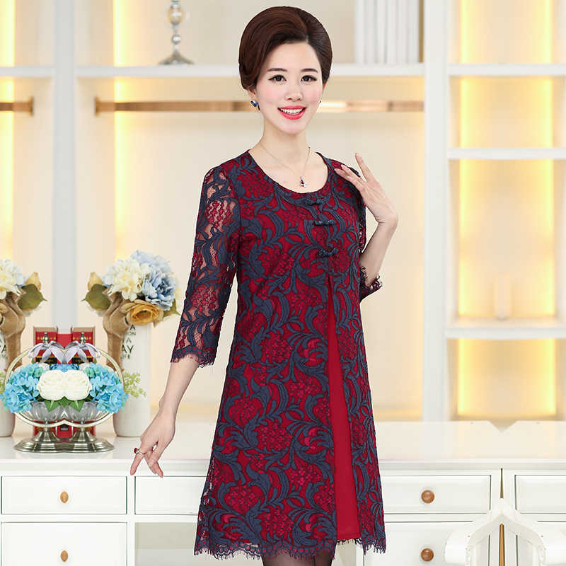 NIFULLAN Half Sleeve Lace Dresses Spring Fall New Fashion Middle Age Mother  Clothing 5XL Plus Size ee7908738861