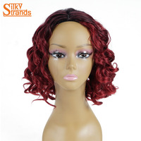 Hilos sedosos Ombre Peluca Rizada Afro rizado Para Las Mujeres Negras negro Rojo Pelucas Sintéticas Resistentes Al Calor Sin Flequillo Naturales peluca