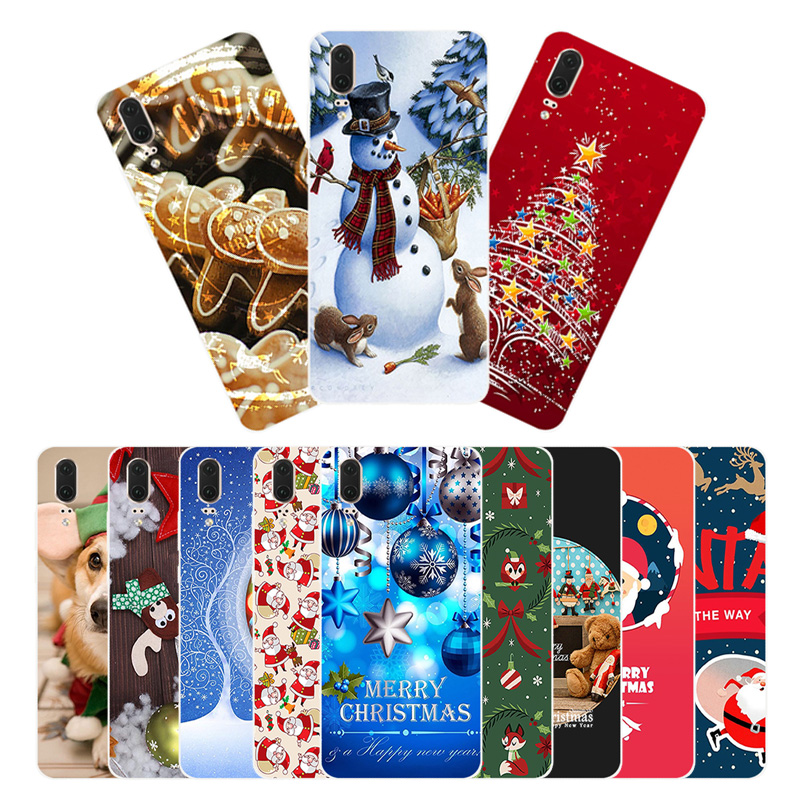 5.8 Inch For Huawei P20 Phone Case Silicone Slim Christmas Cover For Coque Huawei P20 Transparent TPU Phone Protection Shell