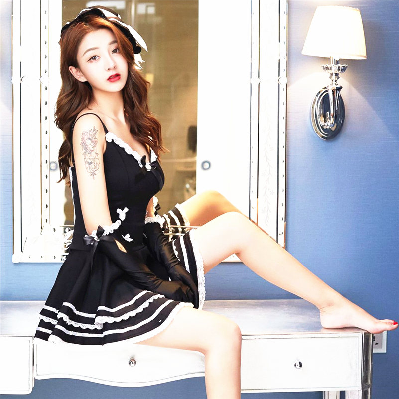 ba71838509f fetish sexy French maid A dress lingerie princess hat sleeve erotic  underwear night lover fantasy cosplay game lady uniform wet