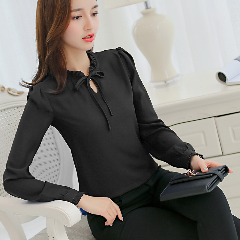 Spring Autumn Women Chiffon Blouse Casual Long Sleeve Slim Shirts Fashion Leisure Shirt Bow Office Ladies Black White Tops Blusa