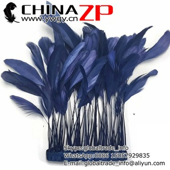 4-6 Inch CHINAZP Factory Wholesale 10yards/lot Beautiful Decorative Dyed Navy Stripped Coque Rooster Tail Feathers Trim
