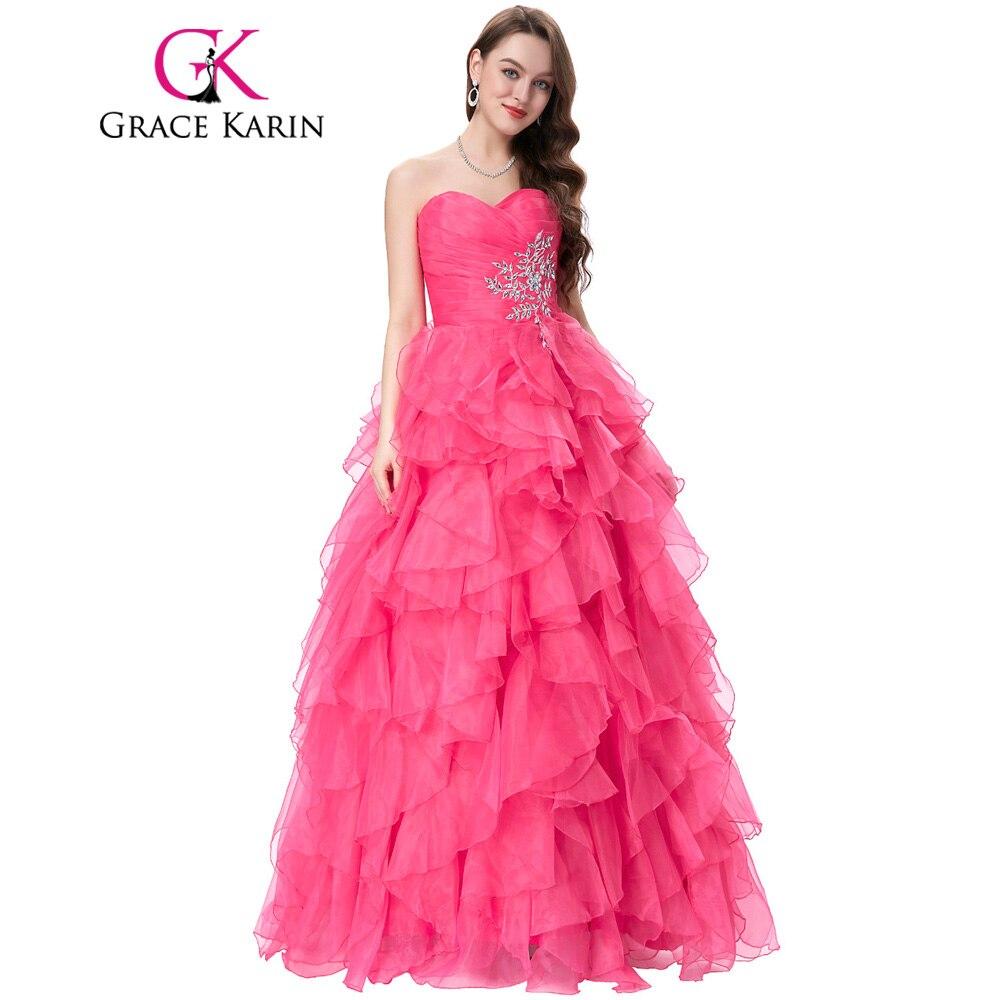 Rojo azul vestido de quinceañera 2018 Grace Karin sin tirantes ...