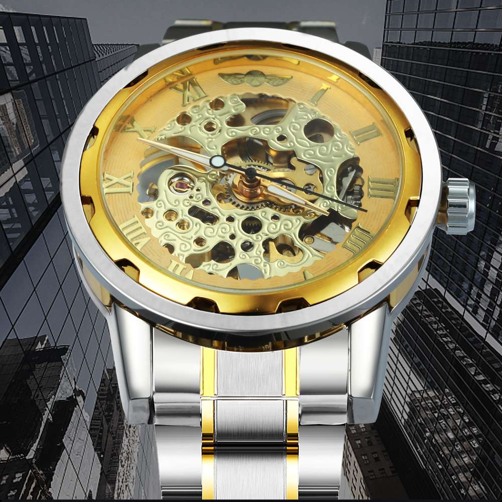 HTB1jVeEafvsK1Rjy0Fiq6zwtXXay WINNER Golden Watches Men Skeleton Mechanical Watch Stainless Steel Strap Top Brand Luxury T-WINNER Classic Wristwatch 17 COLORs