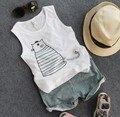 2-8Y new 2016 summer boys cartoon cat cool vest+short haren pants clothing sets 2pcs kids summer suit boys comfortable vest