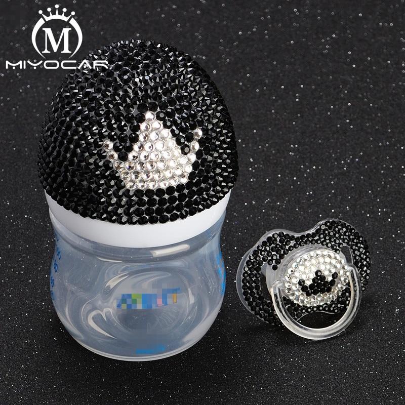 MIYOCAR Bling Luxurious black and white crown 125ml BPA Free Natural Polypropylene Feeding Bottle and bling crown pacifier