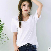 Black And White Striped Cotton Short Summer 2017 New Korean T Shir013