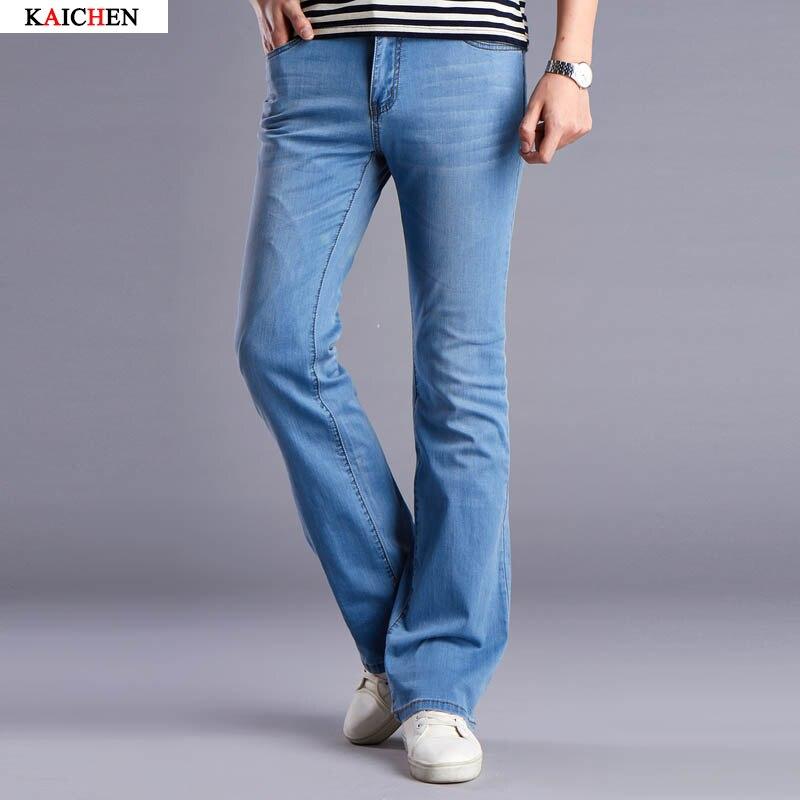 Casual Mens Bell Bottom Jeans Business thin Light Blue Mid Waist  Slim Fit Boot Cut Semi-flared Flare Leg Denim Pants Size 27-36