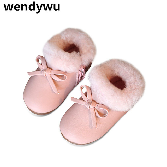 WENDYWU autumn winter chidren pink walking shoes baby girls butterfly ankle boots toddler warm boots kids brand gray boots