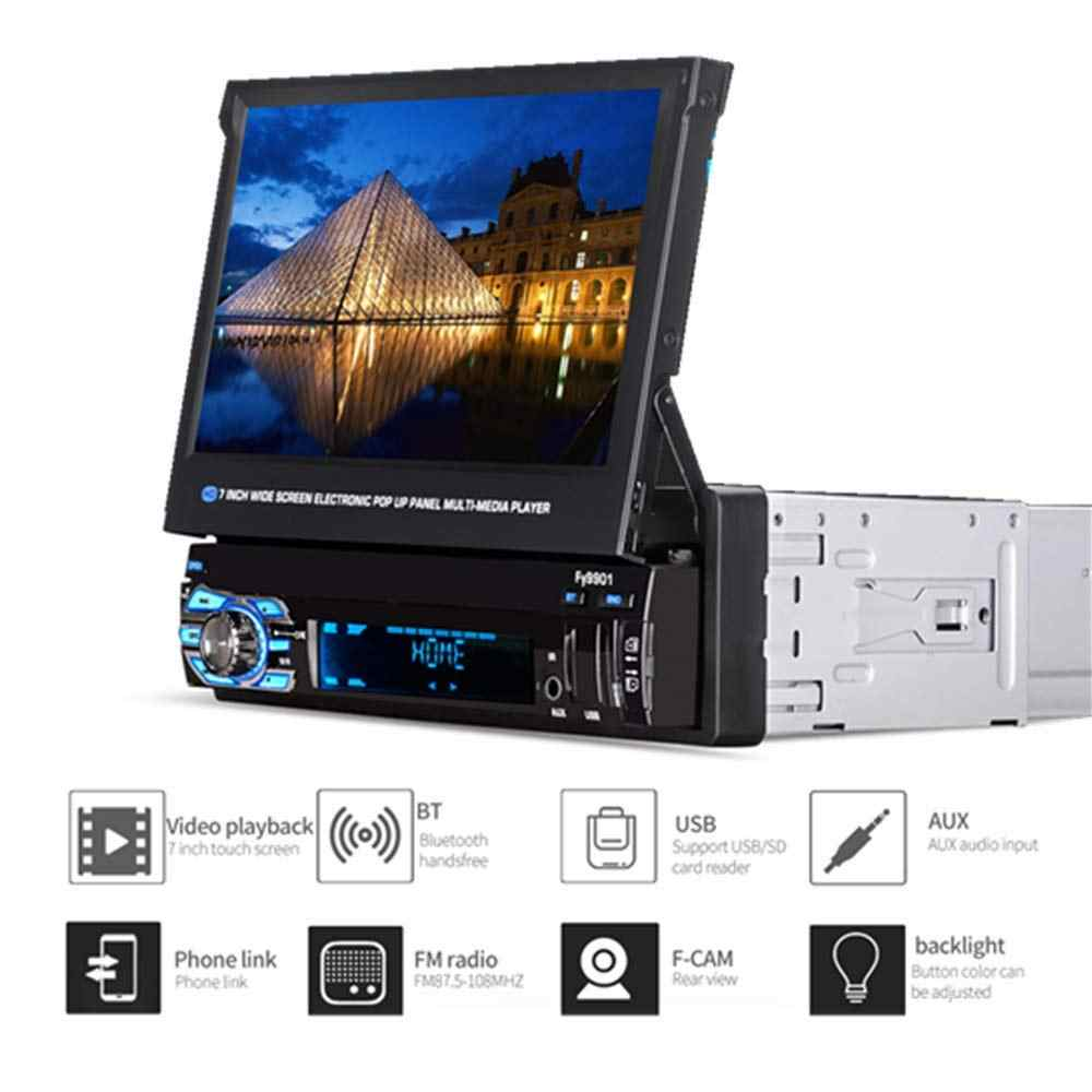 "Fonwoon 7"" Touch Screen Car Radio With Retractable Screen Autoradio GPS Navigation Car Stereo Bluetooth SD AUX FM Rear View Cam"