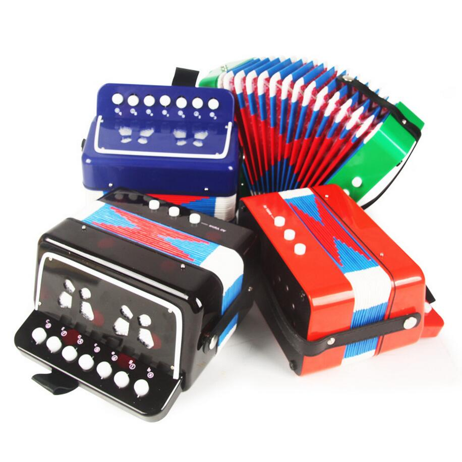 Children Small Accordion Music Toy For Stage performances Cute Design Baby Educational Toy Blue Red Green Color