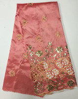 Pink George Lace Silk Fabric With Gold Sequins Embroidery For Sewing Nigerian George Wrapper May 10