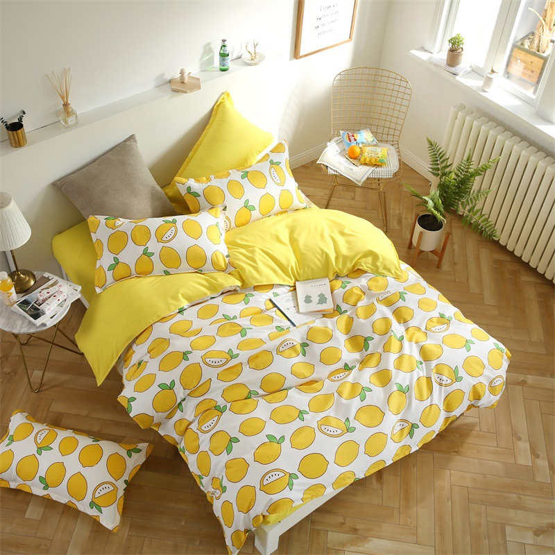 Refreshing lemon watermelon fruit 4 3pc luxury Bedding Set cotton Duvet Cover Flat Bed Sheet Pillowcase